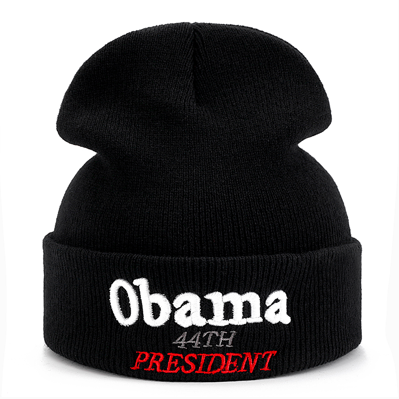 High Quality Obama 44TH PRESIDENT Casual Cotton Beanies For Men Women Fashion Knitted Winter Hat Hip-hop Skullies Hat image