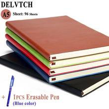 DELVTCH A5 PU Leather 96 Sheets Business Notebook Daily Journal Weekly Monthly Planner Agenda Diary Notebooks +1pcs Erasable Pen cagie a5 binder diary planner cute monthly planner daily traveler notebooks and journals leather school refill filofax agenda