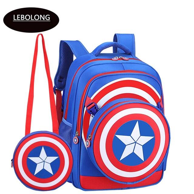 71a030780a57 Lebolong New School Backpacks Avengers Captain America Cartoon Style  Schoolbag For Kids Children Shoulder Bags Mochila Infantil
