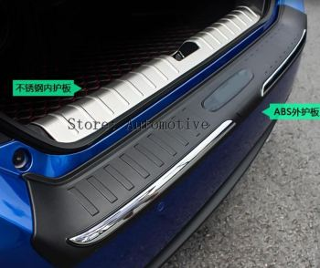 New Style ! For Honda Civic 2016 2017 Rear Bumper ( inner + outer) Door Sill Protector Plate Cover Kit Trim 2 Piece / Set