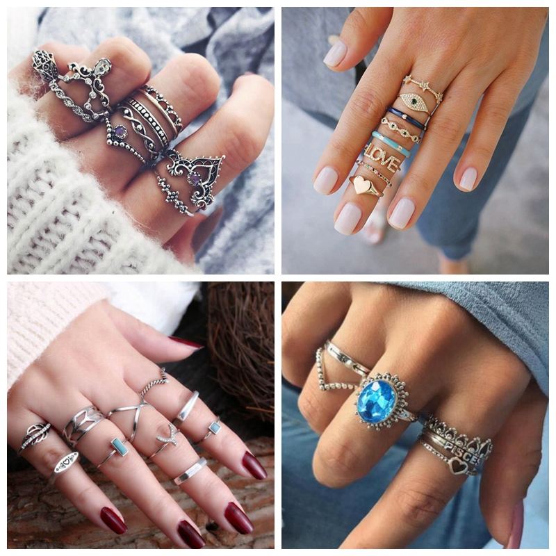 10Pcs/Set Vintage Knuckle Ring Set leaf Wave Letter Crystal Silver Color Midi Finger Rings Wedding Party Jewelry