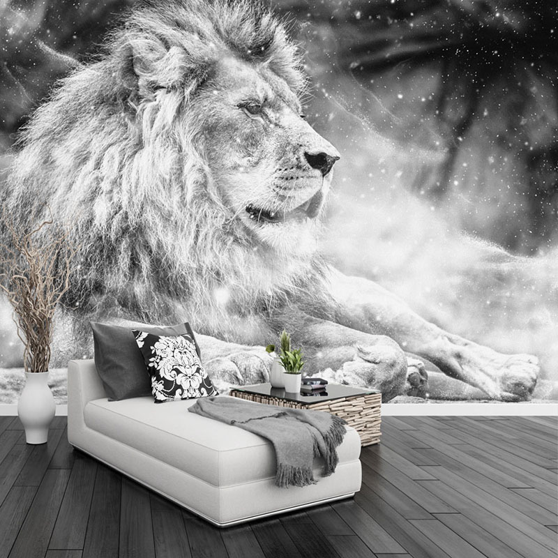 Custom Any Size Mural Wallpaper 3D Black And White Lion Wall Painting Living Room TV Sofa Bedroom Home Decor 3 D Papel De Parede custom tree bark textures wallpaper restaurant living room tv sofa wall background children bedroom 3d mural papel de parede