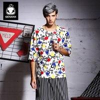 Genanx 브랜드 느슨한 멋진 인쇄 티셔츠 반 소매 한 판 남성 학생 여름 화이트 칼라 레저 옷 파티 남성 S