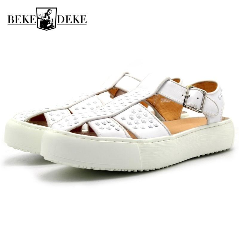 2019 Classic Sandals Men Brand Rivet White Casual Platform Shoes Sneakers Outdoor Beach Flip Flops Sandalia