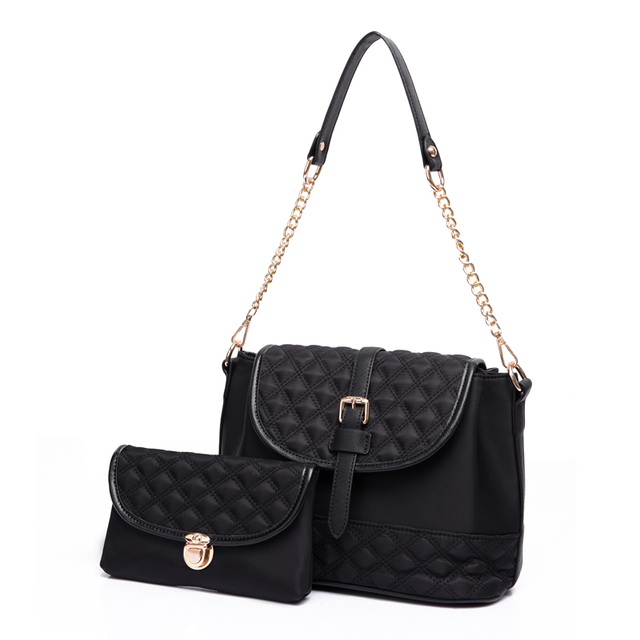 2 PCS/Set Women Bag Nylon Composite Bag Diamond Lattice Women Messenger Bags Fashion Shoulder bags Small Chain Handbag+Wallet