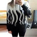 Nova camisola das mulheres do estilo único polvo impressão manga comprida camisola do hoodie pullover moletom com capuz casual clothing # yl12