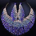 Casamento Jóias Banhado A Ouro Completa Colar de Cristal Elegante Brincos para As Mulheres conjuntos de Jóias Africano