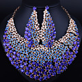 Wedding Jewelry Gold Plated Full Elegant Crystal Necklace Earrings for Women African Jewelry sets
