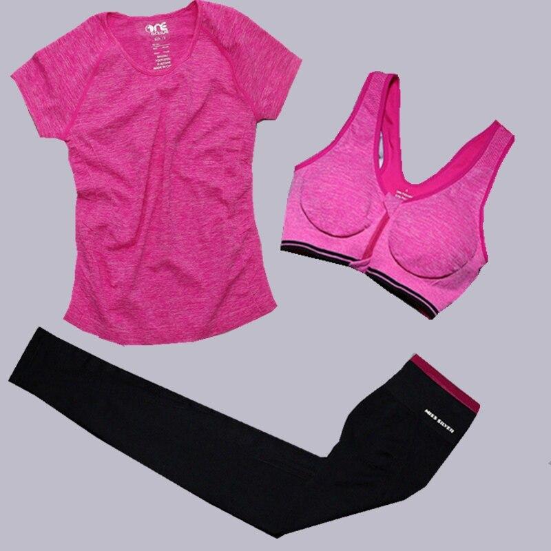 Комплект из 3 предметов Для женщин спортивный костюм футболка Брюки для девочек Бюстгальтеры для женщин Фитнес Комплекты одежды