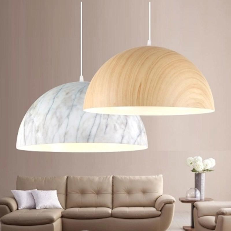 Moderen kratek aluminij iz lesa in marmorja, obesek Luč Unikatna - Notranja razsvetljava - Fotografija 1
