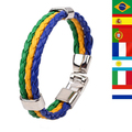 2017 New Fashion Leather Bracelet Men,Unique Football Fans Nations Flags Souvenir Charm Bracelets for Women Men Jewelry Fun Gift