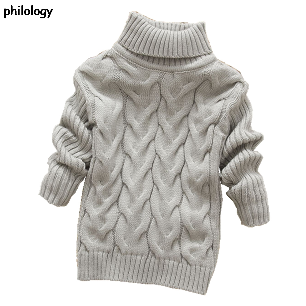 PHILOLOGY 2T-8T pure color winter boy girl kid thick Knitted bottoming turtleneck shirts solid high collar pullover sweater
