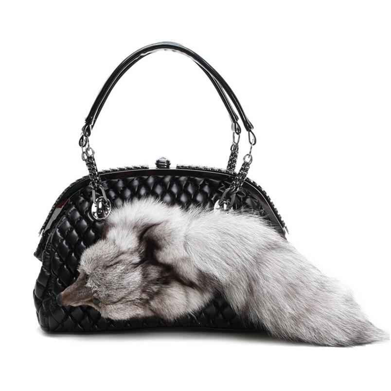 2017Winter Handbag Women Shoulder Bag Real Rabbit Fur Handbags Chain Women Crossbody Bags Shoulder Messenger Bag Bolsas Feminina