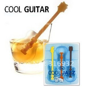 D2 Silicon Ice Mold Maker, Guitar Shaped Ice Cube Trays, 3pcs/lot