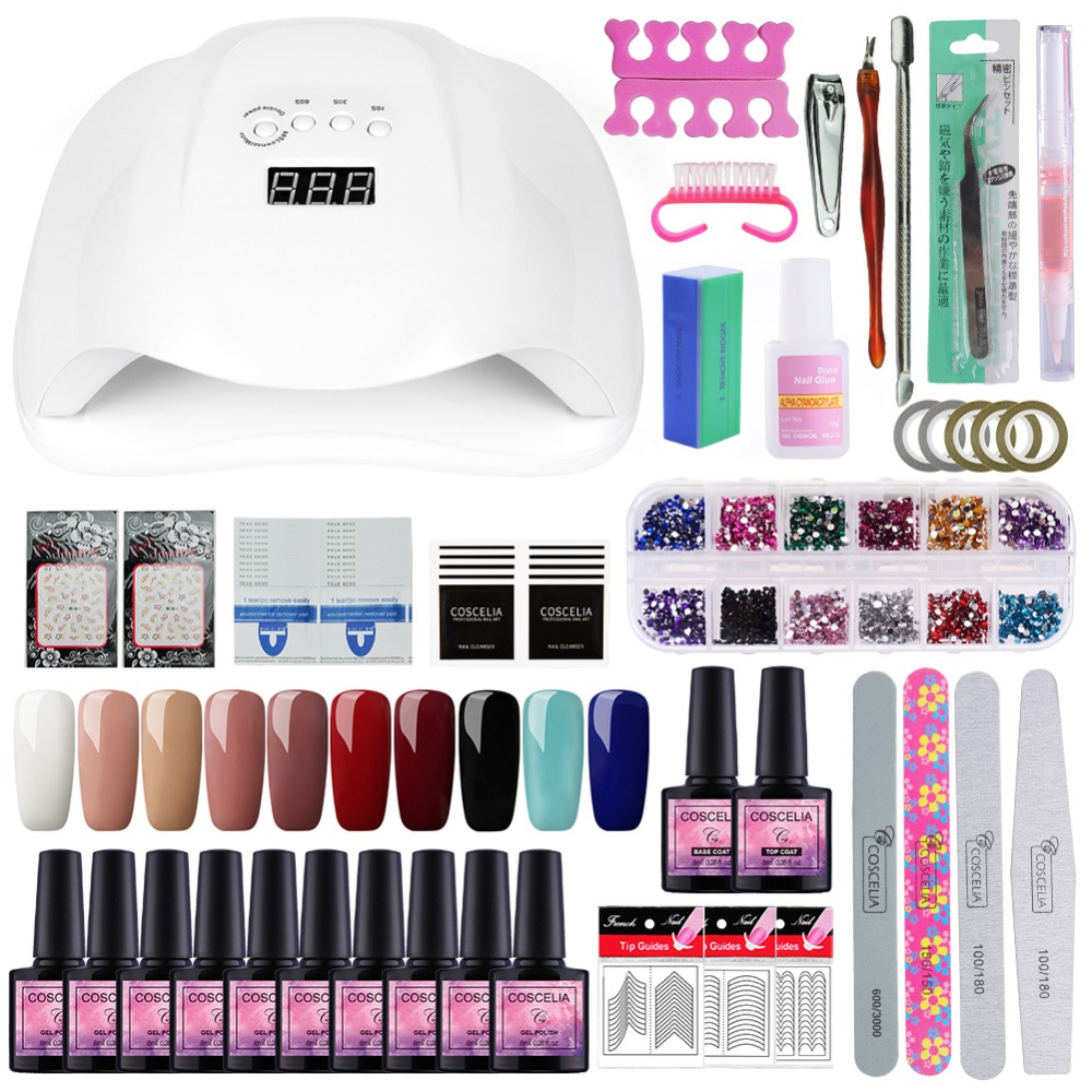 COSCELIA Set For Manicure 54W UV LED Lamp Dryer 10pc Nail Polish Soak Off Gel Varnish Tools For Manicure