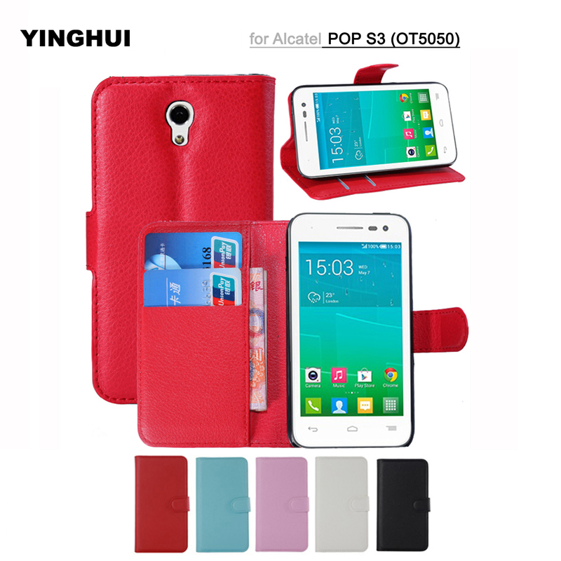 PU Leather Wallet Phone Cases for Alcatel One Touch Pop S3 Case OT5050 5050A 5050Y Flip Covers Stand Magnetic Capa Card Holde
