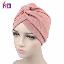New Fashion Women Solid Wrinkle Chevron Indian Turban Hats Cap Hijab For Muslim Headband Turbante