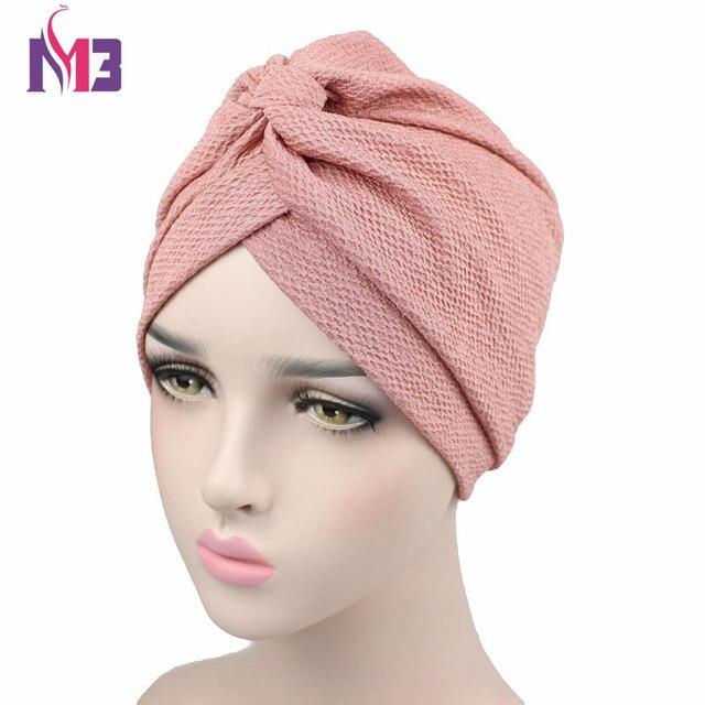 New Fashion Women Solid Wrinkle Chevron Indian Turban Hats Cap Hijab For  Women Muslim Turban Headband Turbante cce96bc1b78
