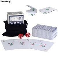 Водонепроницаемый Портативный Пластик маджонг Набор Игральных Карт с 2 Акриловые Кубики и байки мешок путешествия маджонг карты покер
