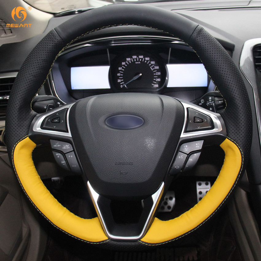 Mewant Black Yellow Genuine Leather Car Steering Wheel Cover For Ford Fusion Mondeo 2017 Edge 2016 In Covers From Automobiles