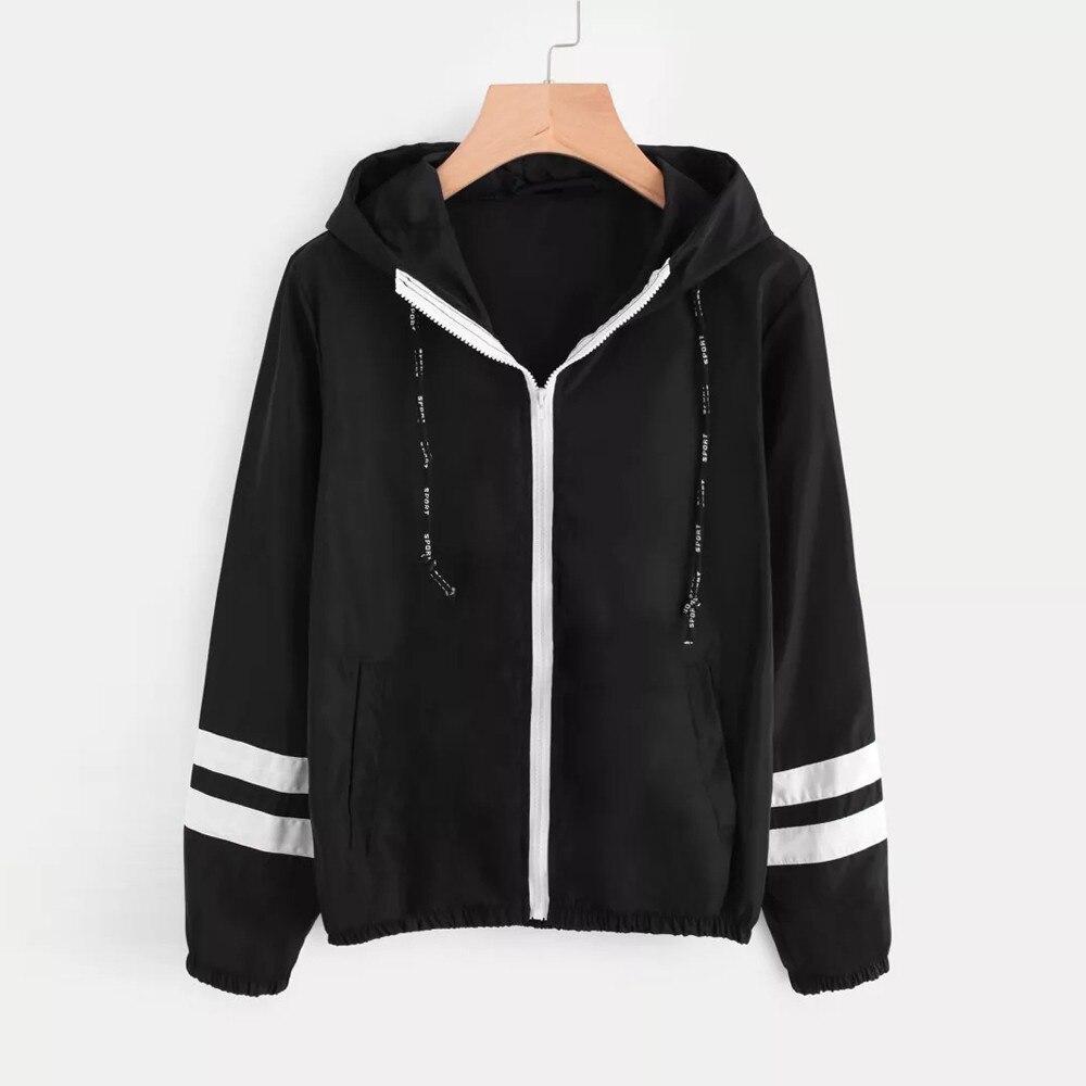 FeiTong Tone   basic     jacket   women hooded Long sleeves zipper pockets women winter coat Casual autumn Windbreaker   jacket   coat 2019
