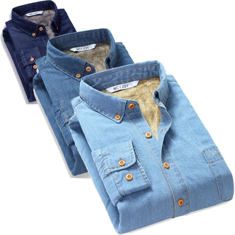 2017 Fashion Brand Fleece Lined Velvet Winter Jeans Shirt Men Warm Male Denim Shirt Plus Size