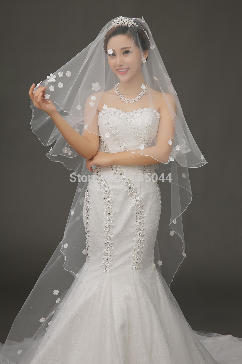 Free Shipping In Stock 2015 Ivory Bridal Veil One Layer ...