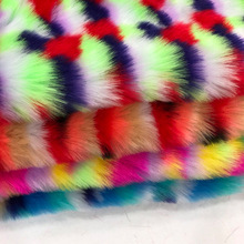Off-the-shelf colorful jacquard rabbit fox Rainbow-colored imitation fur Large Scarf scarf  faux