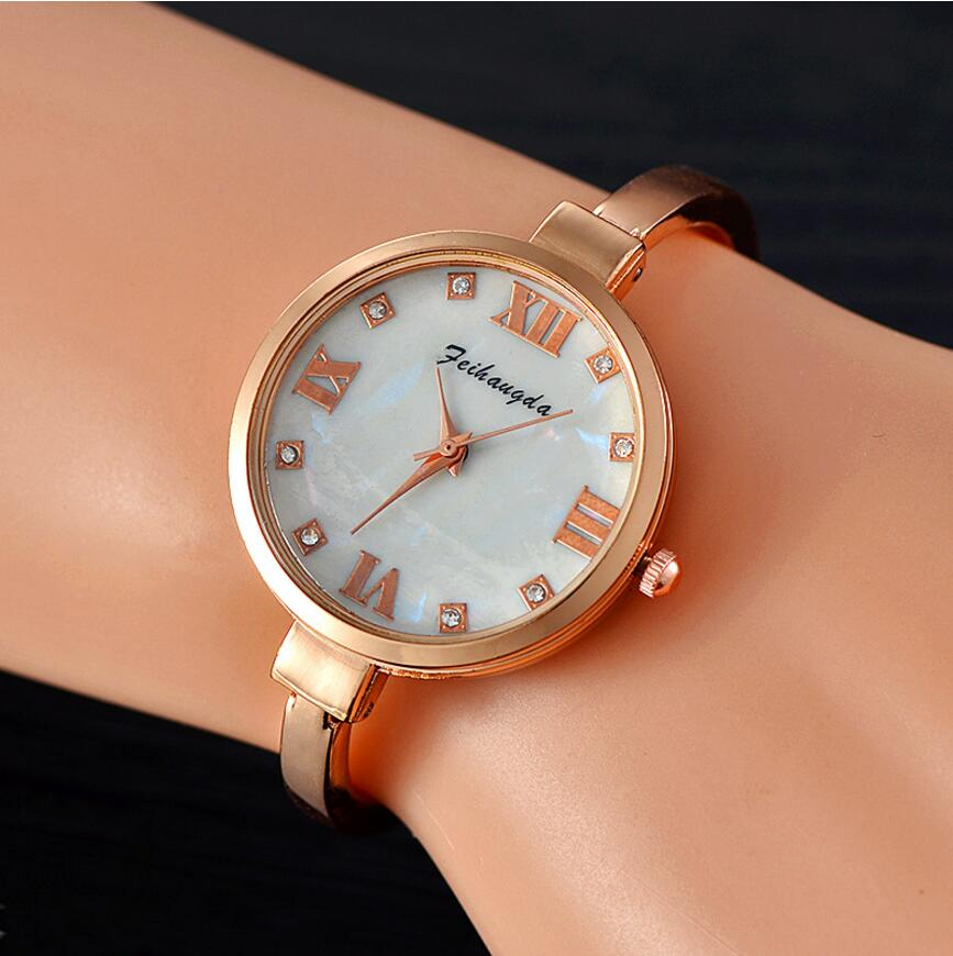 Mode Kvinnor Armband Klocka Luxury Top Märke Rostfritt Stål Guld - Damklockor