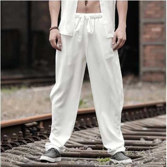 Summer Men's Clothing Loose Thin Pants Ice Silk Trousers Harem elastic sweatpants Man Plus XXXL XXXXL Size Long Pants