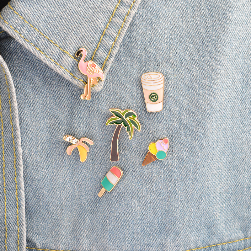 1PCS coconut tree/flamingo/orange Series Badges on A Pin Badges for Clothes Free Shipping Badge for Backpack metal Badges