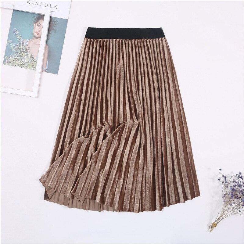 Женская винтажная осенне-зимняя бархатная юбка с высокой талией, элегантные сексуальные обтягивающие черные плиссированные юбки, женские макси юбки, женские s - Цвет: 7 Khaki
