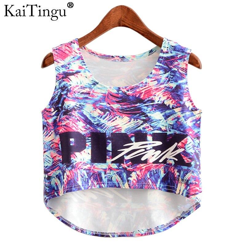 KaiTingu 2017 Summer Fashion Women Crop Top Sleeveless Colorful Full Print Casual Women Short Mini Cropped