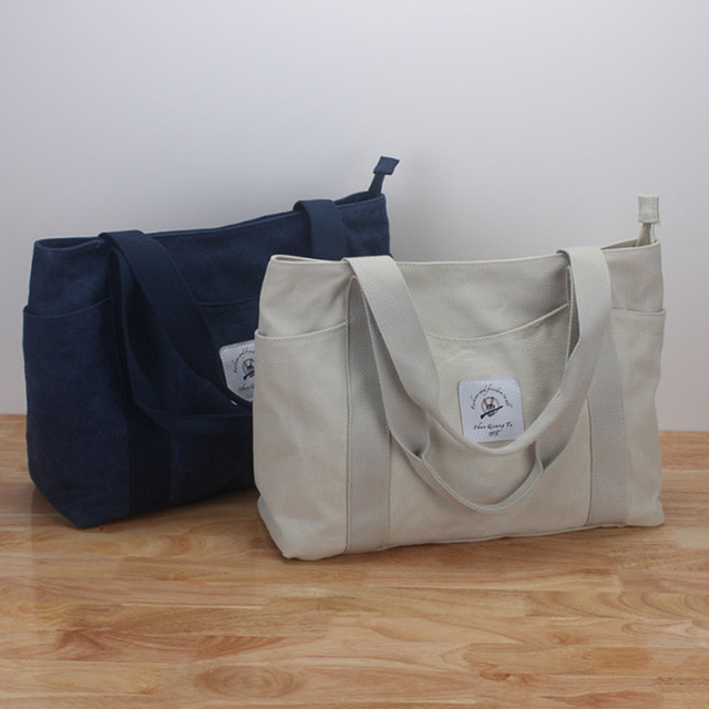 Women Letter Print Canvas Ping Bag S Large Reusable Grocery Handbags Eco Friendly Portable Shoulder