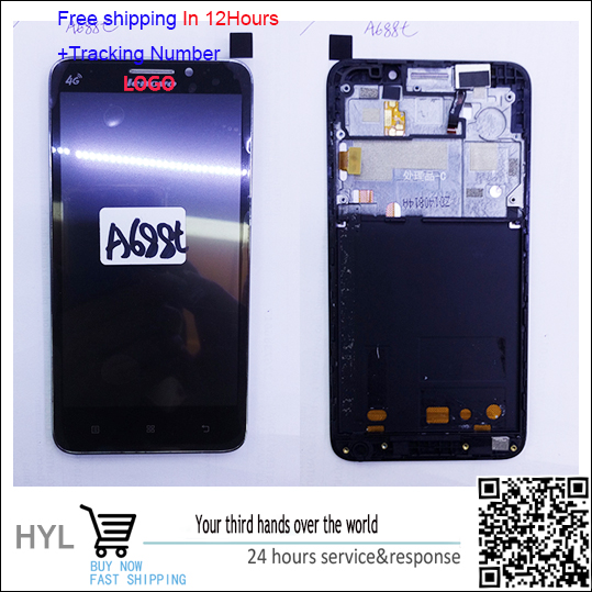 Original Touch screen digitizer+LCD display with frame For lenovo A688T fast shipping tracking number