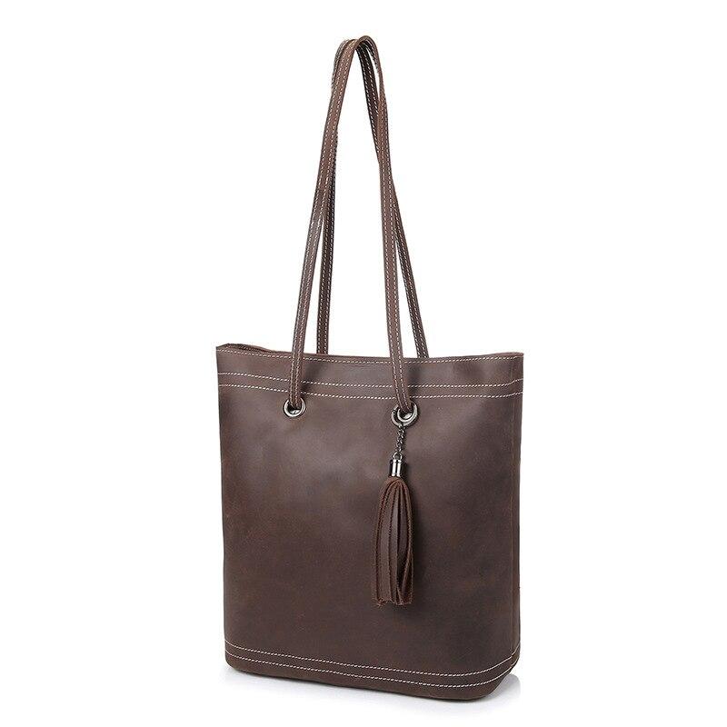 Vintage Luxury Crazy Horse Leather Women's Shoulder Bags Casual Genuine Leather Tassel Women Handbags
