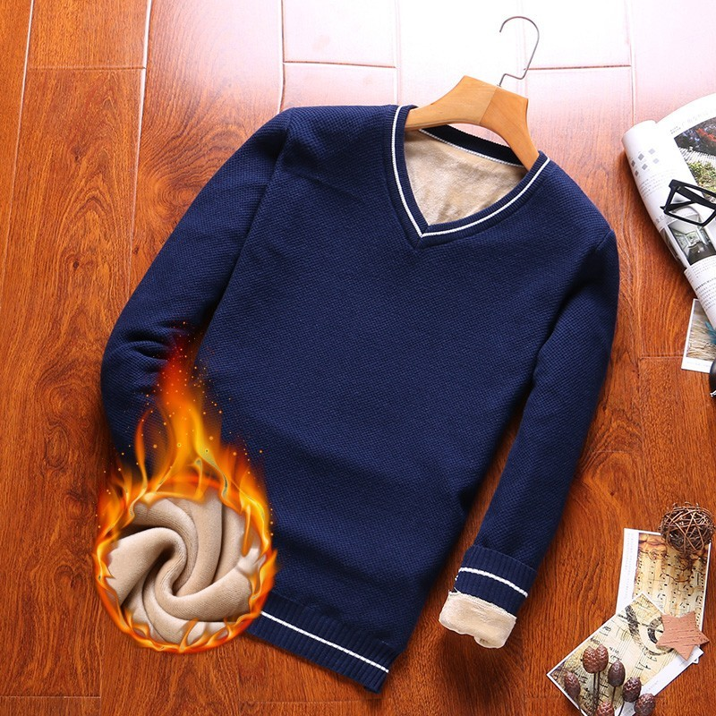 Varsanol 100% Cotton Sweater Men Thick Pullovers V-neck Coat Winter Casual Long Sleeve Sweaters Fit Knitting Solid Clothing New