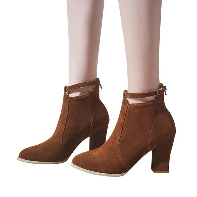 YOUYEDIAN Kadın Flcok Sivri Burun Çizmeler yarım çizmeler Yüksek Topuklu Toka Askı Martin Ayakkabı sapatos mulheres conforto # a25