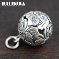 BALMORA 990 Pure Silver Jewelry Vintage Hollow Flower Pendants For Necklaces Women Men Charms Accessories Gifts