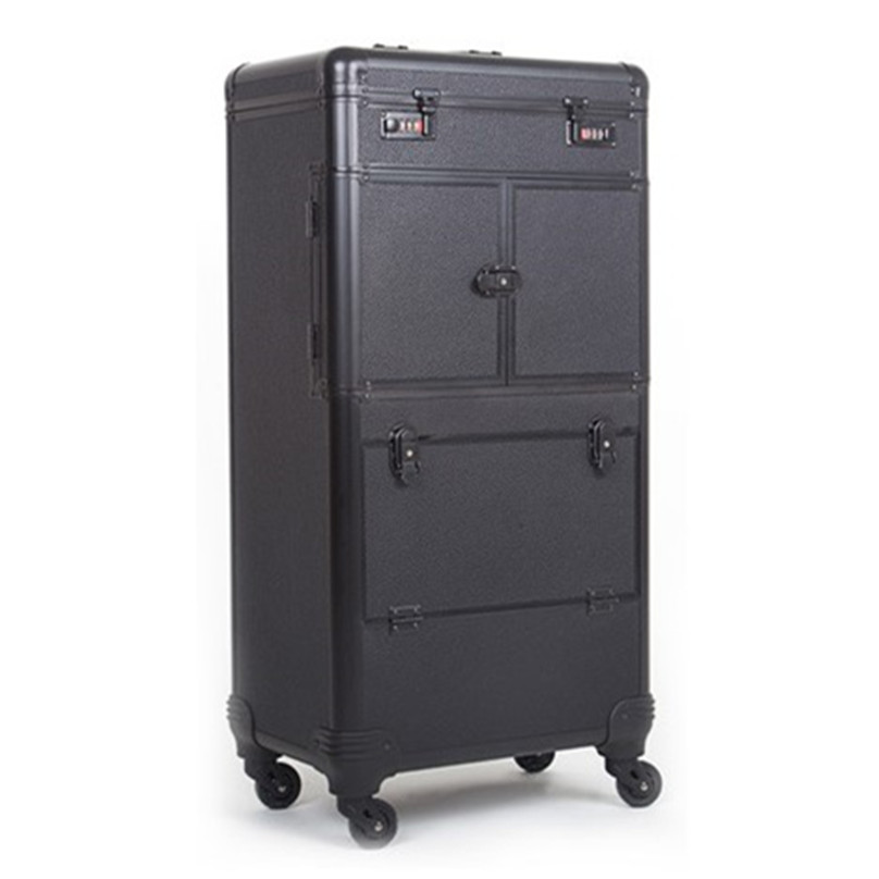Brand Aluminum frame profession travel Trolley Makeup Box Beauty Case professional Luggage Suitcase Bag makeup Universal