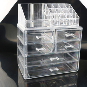 Clear Plastic 6 Large Drawers Makeup Organizer Large Cosmetic Storage Box Case Desk Storage Box Lipstick holder Jewelry Storage