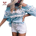 2017 Новое Прибытие Весна женская Мода Футболка Slash Шеи Бабочка Рукавом Цветочный Пляж Завернутый Груди Футболки Топы М-285