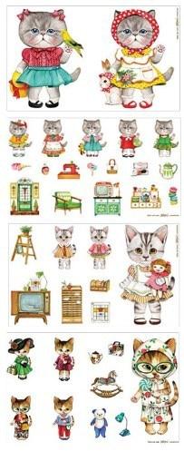 Yuying DIY! krásná kočičí bavlněná tkanina, prádlo / bavlna, 140cm * 40cm, zakka diy tkanina, ideální pro make-up a řemeslo