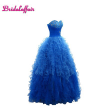 Bridalaffair real photo blue transparency crystal ball gown Quinceanera dress 2018 new young girl beaded 15 years party ball gow