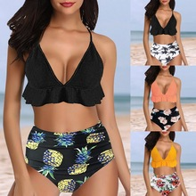 Push Up Ruffle Printed Two Pieces Swimsuit