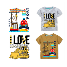 Iron on Patches Cars Kids Top Clothing Application Thermo Transfer for Clothes Decor Sticker T-shirt Badges Stripes Heat Press