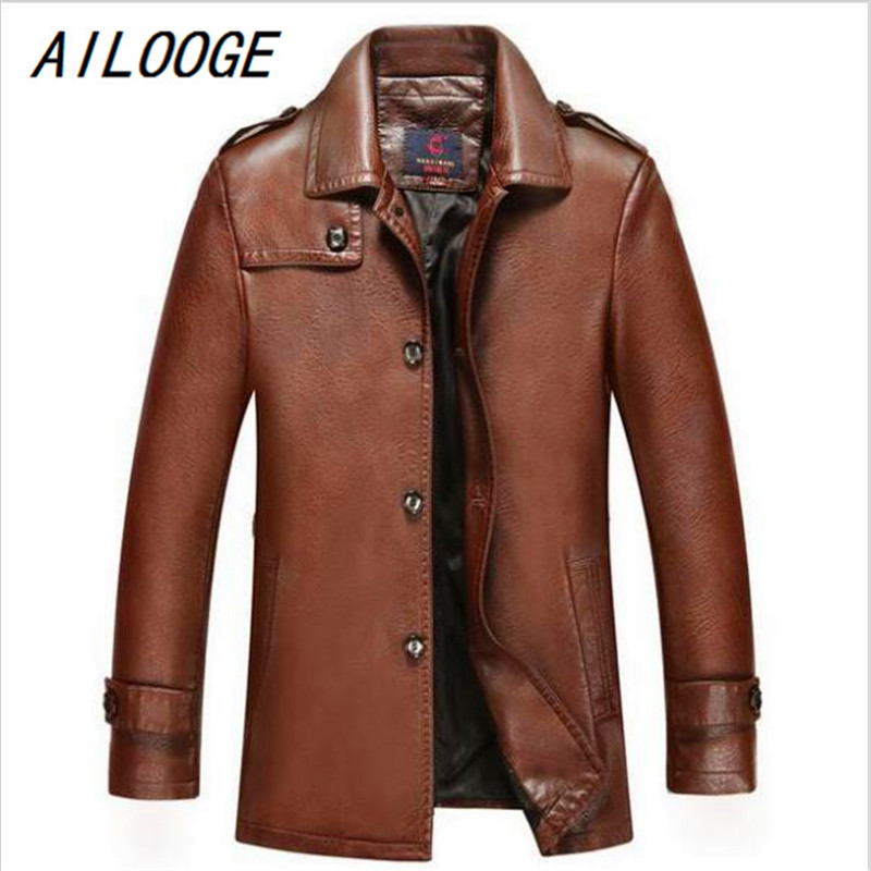 AILOOGE 2017 Autumn Winter Leather Clothing Genuine Leather Fashion BUSINESS Casual Jacket Man Slim Wind Coat Men Tops OUTERWEAR