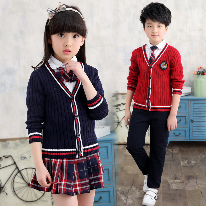 Heat Group Autumn New Product Boys Girls Class Service School Uniform Skirt Trousers Knitting Sweater Suit Three-piece Kids Sets