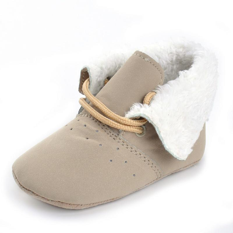 Infant Soft Sole Newborn Shoes Winter Non-slip Sneakers Warm Toddlers Booties Footwear Crib Shoes PU Nubuck Leather Baby Shoes