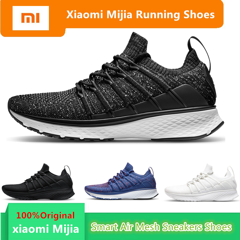 Original Mi Xiaomi Mijia Men Smart Running Shoes Outdoor Sport MI Air Mesh Sneakers 2 Breathable Knitting Vamp Tennis not chip xiaomi smart shoes mijia running shoes